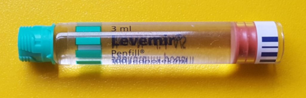 Photo showing vial used in Levemir insulin pen.