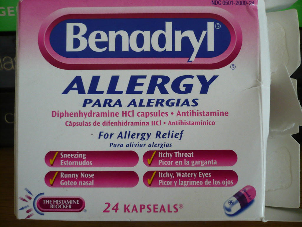 Photo of an opened package of Benadryl
