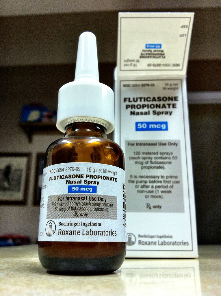 Photo of Fluticasone nasal spray and package