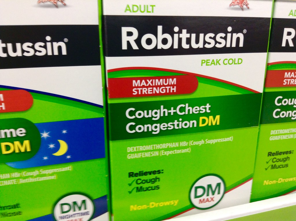 Photo showing various packages of Robitussin medications