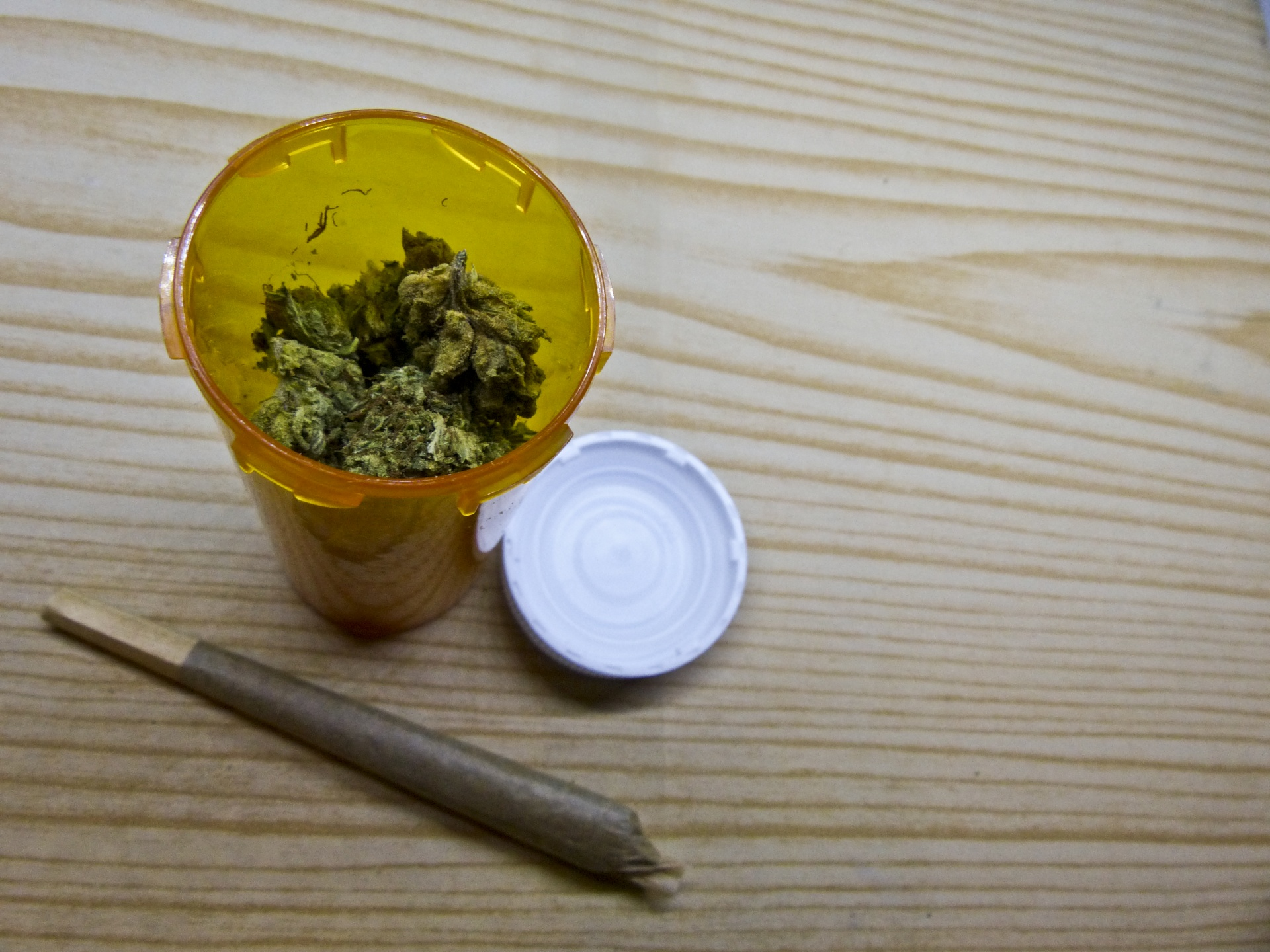 Photo of medical marijuana in prescription bottle