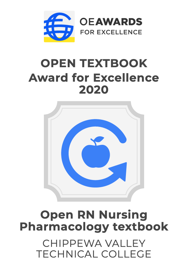 Award image for Open Textbook Award for Excellence 2020. Shows an arrow circling around an apple shaped image along with award text.